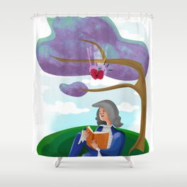 discovery of the law of gravity and the raging apple Shower Curtain