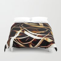 bands Duvet Covers featuring Rubber Bands by Carsick T-Rex