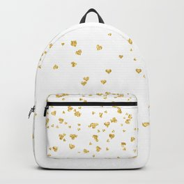 Falling hearts gold glitter confetti - Heart Love Valentine Backpack