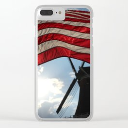 Flag over Windmill Clear iPhone Case