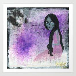 Skull Lady & Lavender Art Print