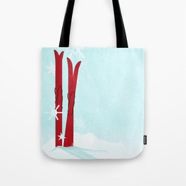 Red Skis in the snow Tote Bag