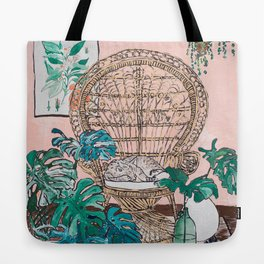Napping Tabby Cat in Cane Peacock Chair in Tropical Jungle Room Tote Bag