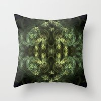 green pattern Throw Pillows featuring Green pattern by Armine Nersisian