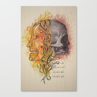 Lady and a skull Canvas Print