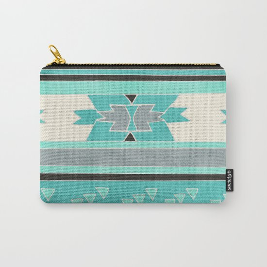 Rustic Tribal Pattern in Teal, Charcoal and Cream Carry-All Pouch