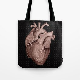 Anatomical Human Heart - Black and Old Rose Tote Bag