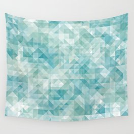 Chic Abstract Pastel Turquoise Blue Retro Triangles Mosaic Pattern Wall Tapestry