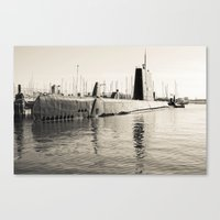 submarine Canvas Prints featuring Submarine by Color Outside The Lines  {RV}