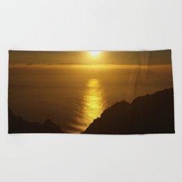 Sunset over the Canary islands Beach Towel