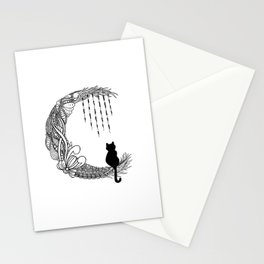 Black Cat Crescent Moon Stationery Cards