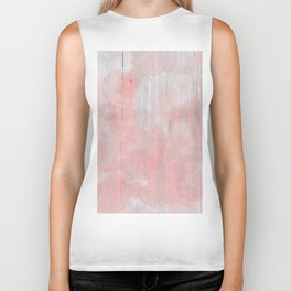 Abstract rustic of white wood pink watercolor Biker Tank