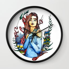 The Kitchen Witch Wall Clock