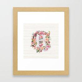Initial Letter H Watercolor Flower Framed Art Print