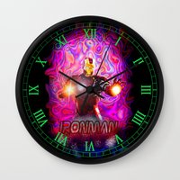 ironman Wall Clocks featuring Ironman by JT Digital Art