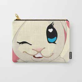 cute cartoon Funny Bunny with topper Carry-All Pouch