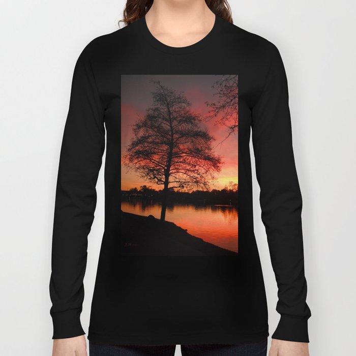 Sunset Lake. © J. Montague. Long Sleeve T-shirt