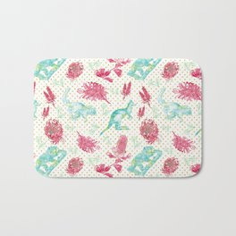 Beautiful Australian Animals and Flowers on Gold Polka Dots Bath Mat