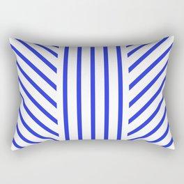 Lined Blue Rectangular Pillow