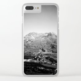 Mount St. Helens in Black and White - Holga Photograph Clear iPhone Case
