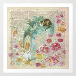Vintage Floral Alice In Wonderland Art Print