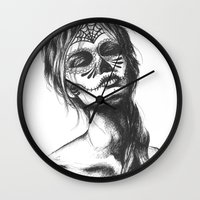 sugar skull Wall Clocks featuring Sugar Skull by Lena Safaniouk