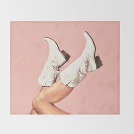 These Boots - Pink Throw Blanket