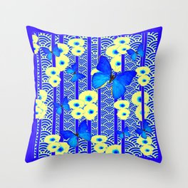 Blue Butterflies Cream-Blue Asia Style Modern Art Throw Pillow