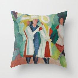 August Macke - Three Girls in Yellow Straw Hats (1913) Throw Pillow