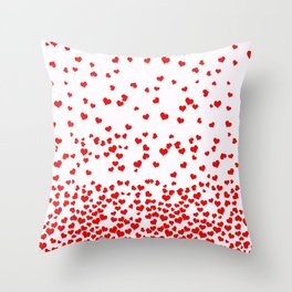 Falling Hearts Throw Pillow