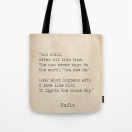 Hafiz quote Tote Bag
