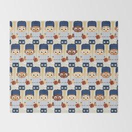 Baseball Pinstripes White and Blue - Super Cute Sports Stars Throw Blanket