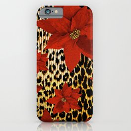 Animal Print Leopard and Red Poinsettia iPhone Case