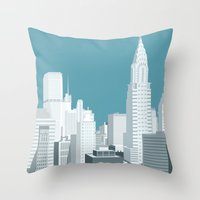 manhattan Throw Pillows featuring Manhattan by mauromod