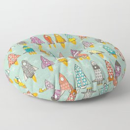 retro rockets mint Floor Pillow