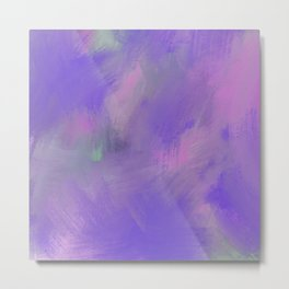 Hand painted pink violet lavender watercolor brushstrokes Metal Print