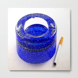 Blue ashtray and a cigarette Metal Print
