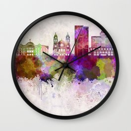 Phoenix skyline in watercolor background Wall Clock
