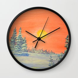 winter trees snow and sun . art Wall Clock