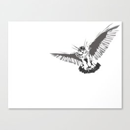 Owl of the Pheonix White Canvas Print