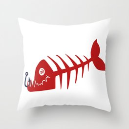 Pirate Bad Fish red- pezcado Throw Pillow