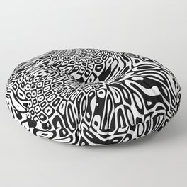 Black  and white psychedelic optical illusion Floor Pillow