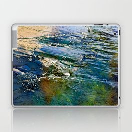 Colored sea waves licking the rock Laptop & iPad Skin