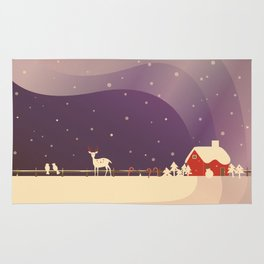 Peaceful Snowy Christmas (Plum Purple) Rug
