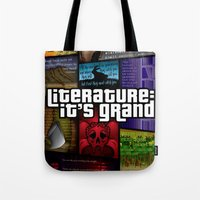 grand theft auto Tote Bags featuring Grand Theft Literature by Mitul Mistry