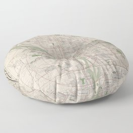 Vintage Map of Portland Oregon (1912) Floor Pillow