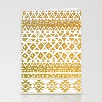 golden girls Stationery Cards featuring GOLDEN TRIBAL by Nika