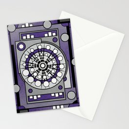 Unit 635 - Ultra Violet Geometric Digital Abstract Stationery Cards