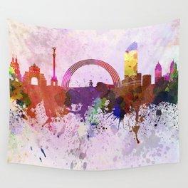 Kiev skyline in watercolor background Wall Tapestry