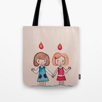 sisters Tote Bags featuring Sisters by carosurreal
